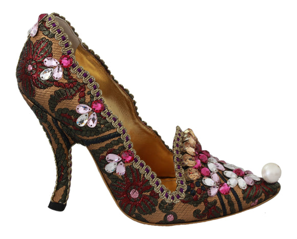 Multicolor Jacquard Crystal Heels Shoes