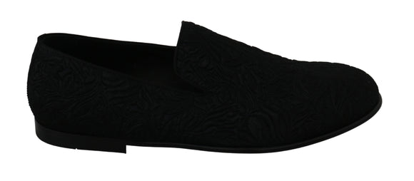 Black Brocade Dress Formal Loafers Shoes