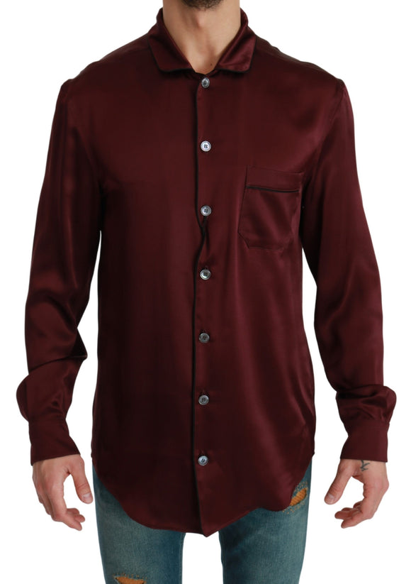 Bordeaux Silk Pajama Casual Top Shirt