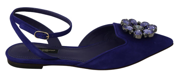 Blue Suede Crystal Flats Pointed Shoes