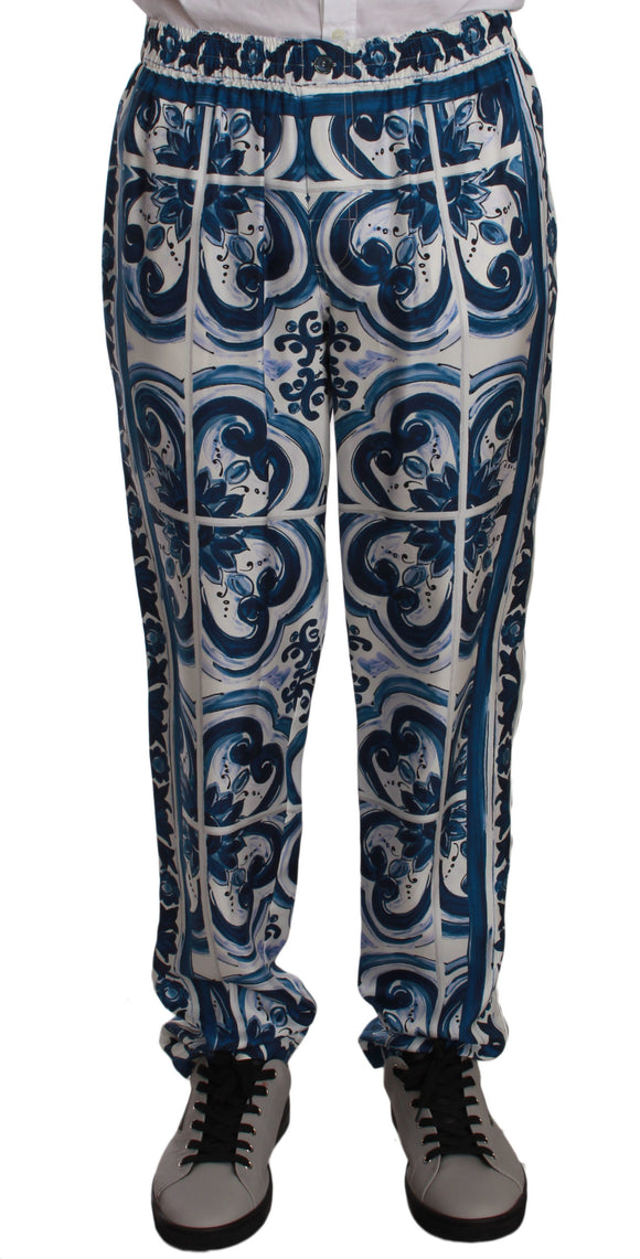 Blue  Floral Print Silk Lounge Sleepwear Pants