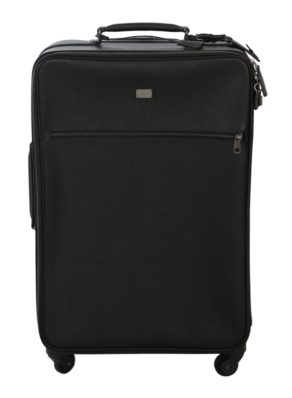 Black Leather Travel Suitcase Luggage Bag