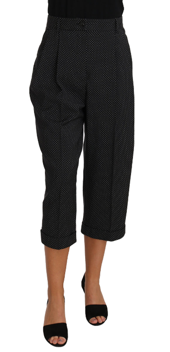Black Polka Dot Cropped Pegged  Pants