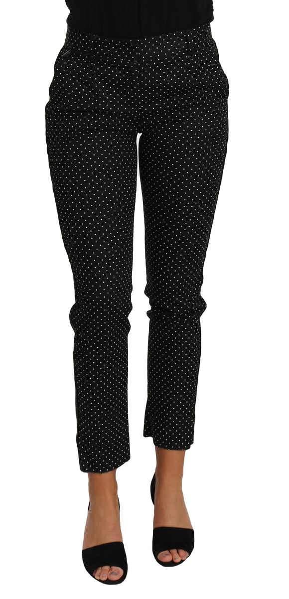 Black Dress Polka Dot Cropped Straight Pants