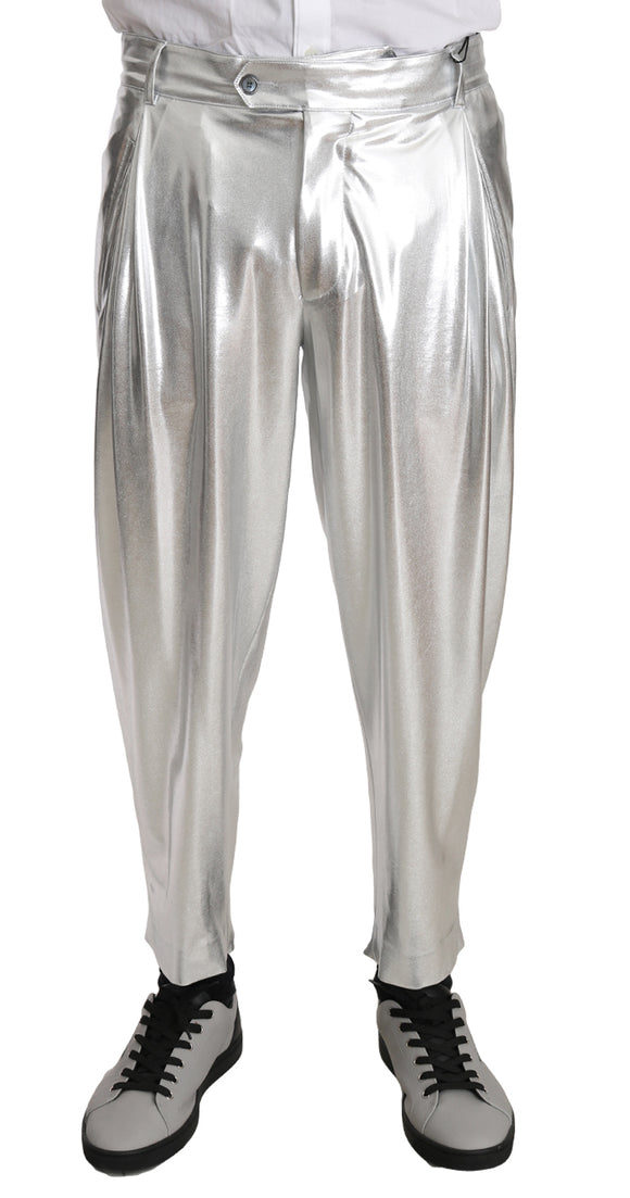 Silver Cotton Stretch Shiny Trousers