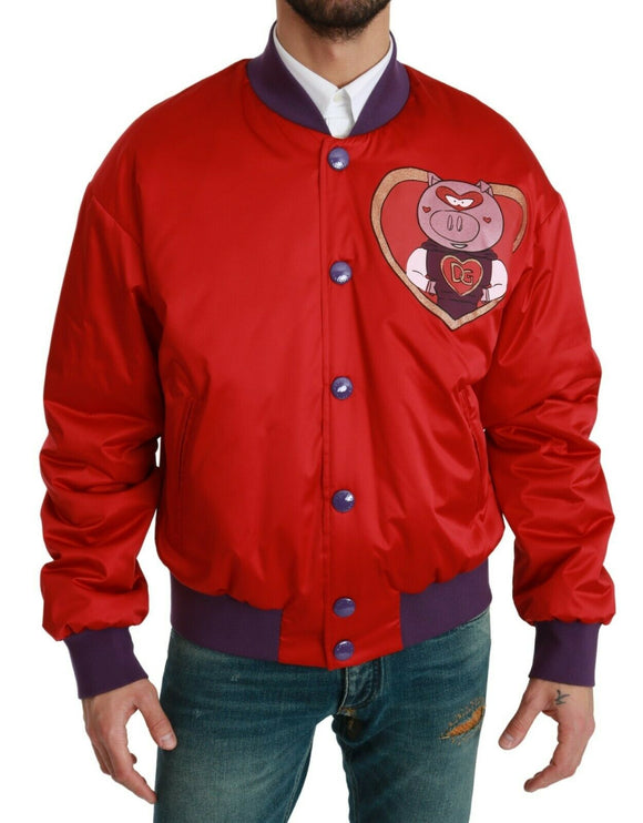 Red YEAR OF THE PIG Bomber Jacket
