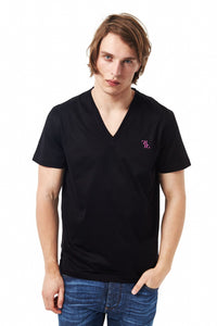 Black V-Neck Mini Embroidery T-shirt