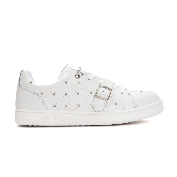 Bianco White Buckle Sneakers