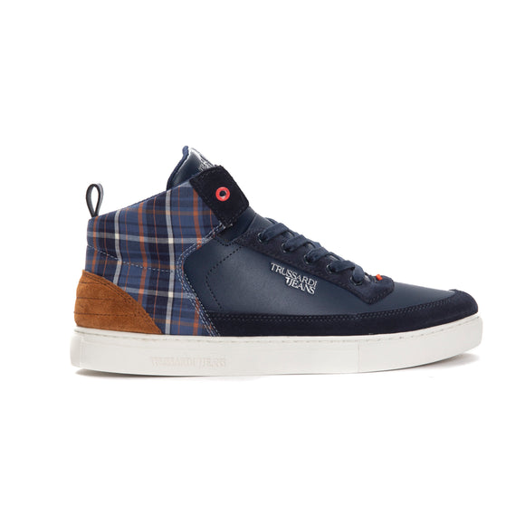 Blue Calf Leather Navy Check Sneakers