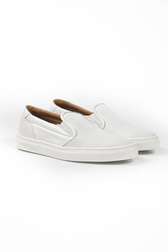 Bianco White Slip On Sneakers