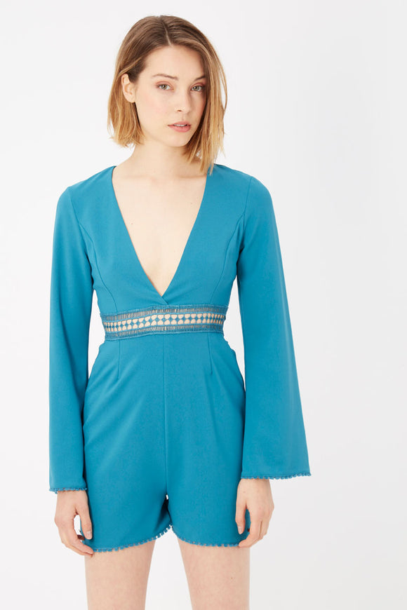 Blue Long Sleeve Playsuit  Dress