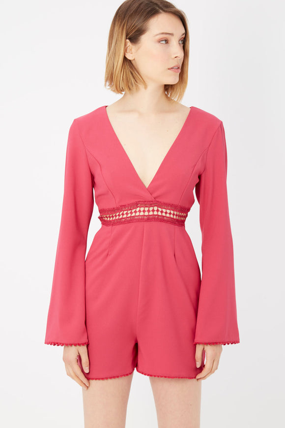 Rosa Fuchsia Long Sleeve Playsuit
