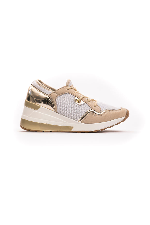 Beige Laced Laminate Effect Sneakers