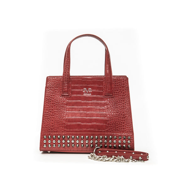 Red Stud Croc Handbag