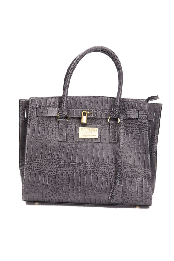 Grey Crocodile Print Leather Handbag