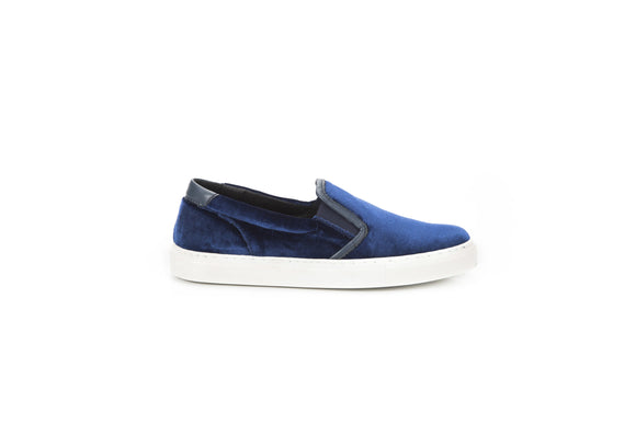 Blue Slip On Leather Insert Sneakers