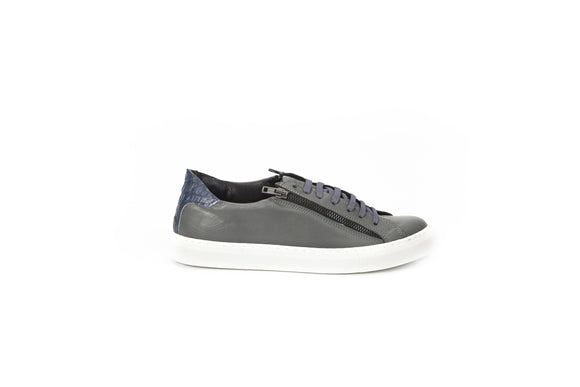 Anthracite Leather Grey Side Zip Sneakers