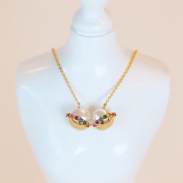 Yellow Gold Bra Necklace