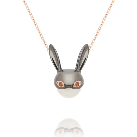 Pink Tourmaline Bunny Necklace