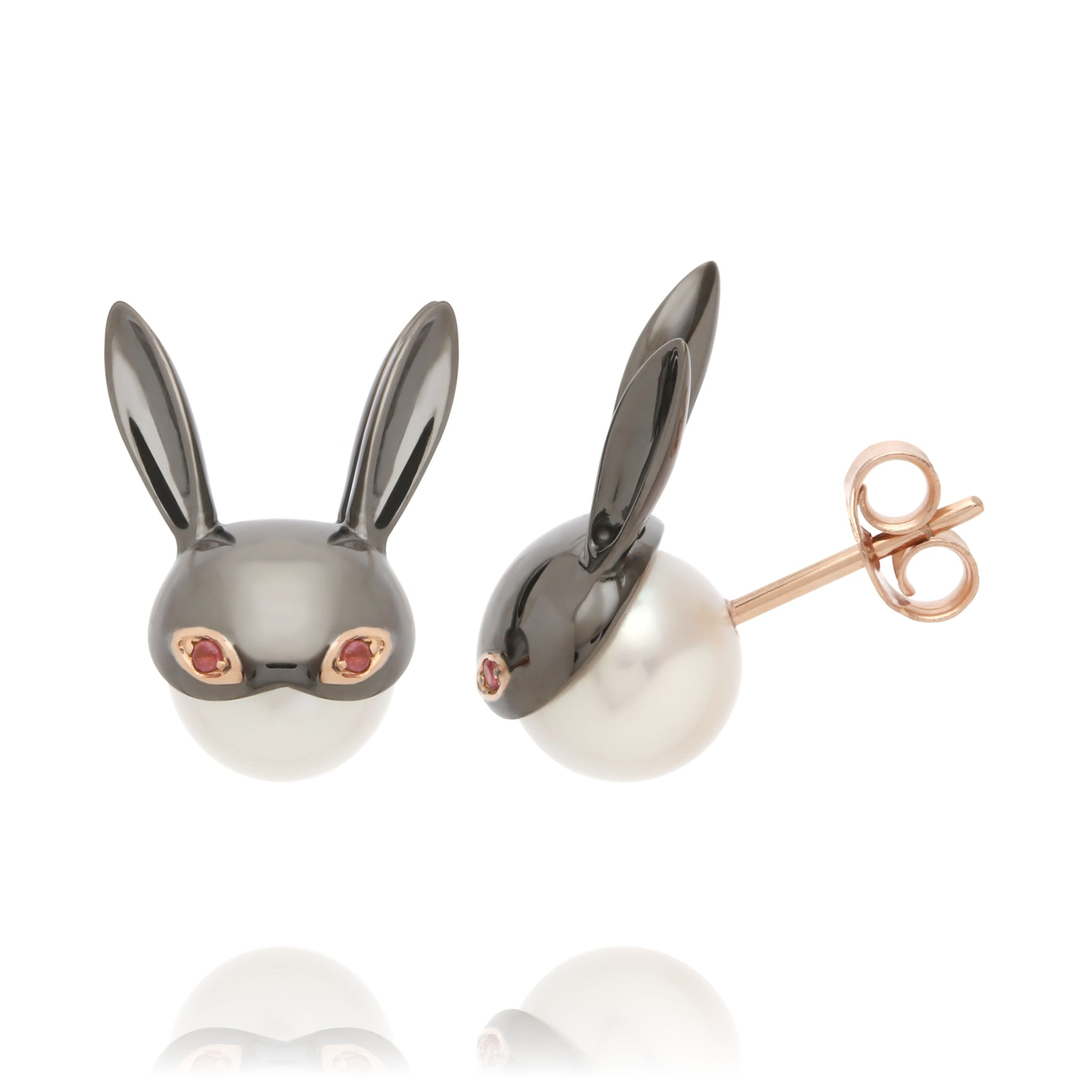 Pink Tourmaline  Bunny Earrings
