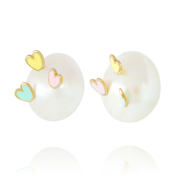 Striking Hearts Tricolour Earrings