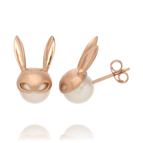 Rose Gold Bunny Earrings