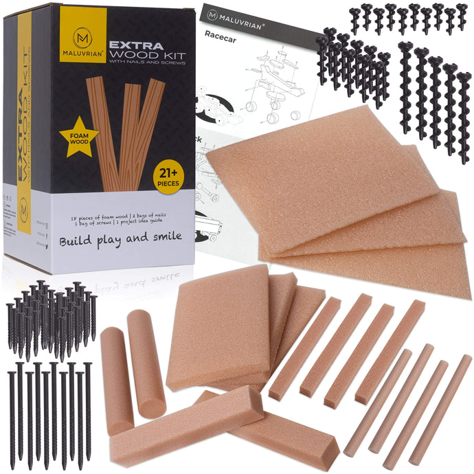 Kids Tool Set | Refill Kit with Extra Foam Wood - Maluvrian