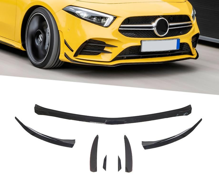 W177 A Class Hatchback Sedan Sport Front Bumper Bar Lip Spiler Vent Insert Canards Set in Gloss Black (6550081011786)