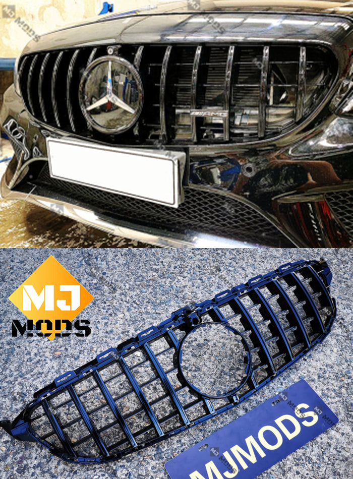 ABS Front Grille For Mercedes Benz C Class【W205/C205/S205/A205 C200/C220/C250/C300/C350/C43 AMG】【15-18】【15-GT Black】 (3835306573898)