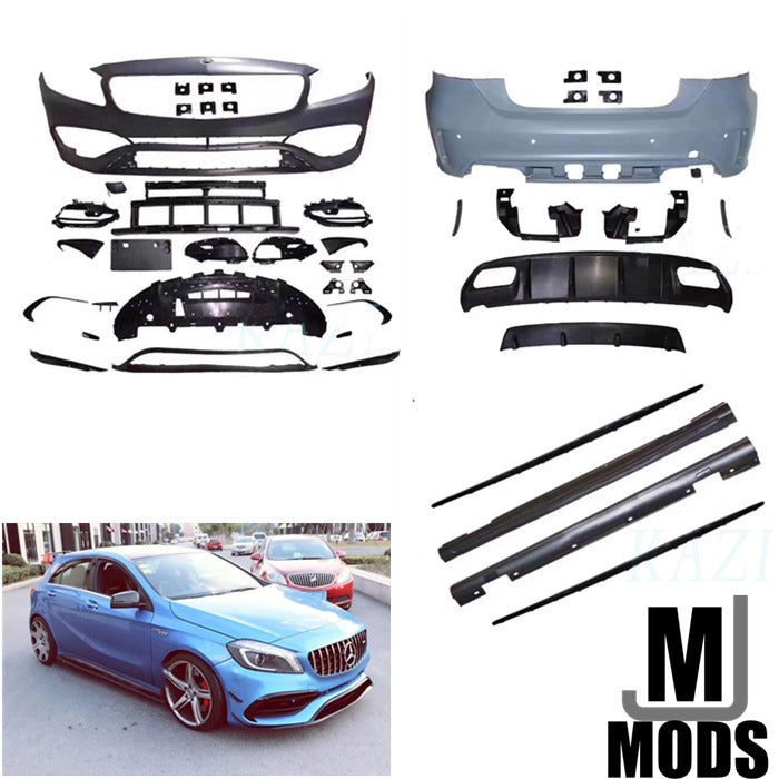 W176 A CLass AMG Style LCI Facelifted 2016-2019 BODY KITS SIDE SKIRTS & FRONT BUMPER & REAR BUMPER (4614436847690)