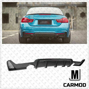 ABS Matt Black Rear Bumper Diffusser for BMW 4 Series【F32 F33 F36 M Sport】【MP Type with Twin Exhaust Outlet】 (4577594441802)