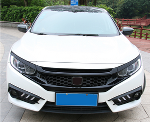 ABS Glossy Black Front Grille for Honda Civic 10th Gen Sedan Hatch 2016-2019 -- Honeycomb Type (4293089460298) (6548807974986)