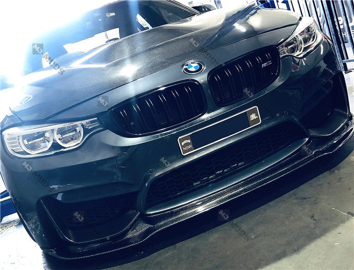 Carbon Fibre Front Bumper Lip for BMW【F80 M3 & F82 F83 M4】【V Style】 (4462879768650)