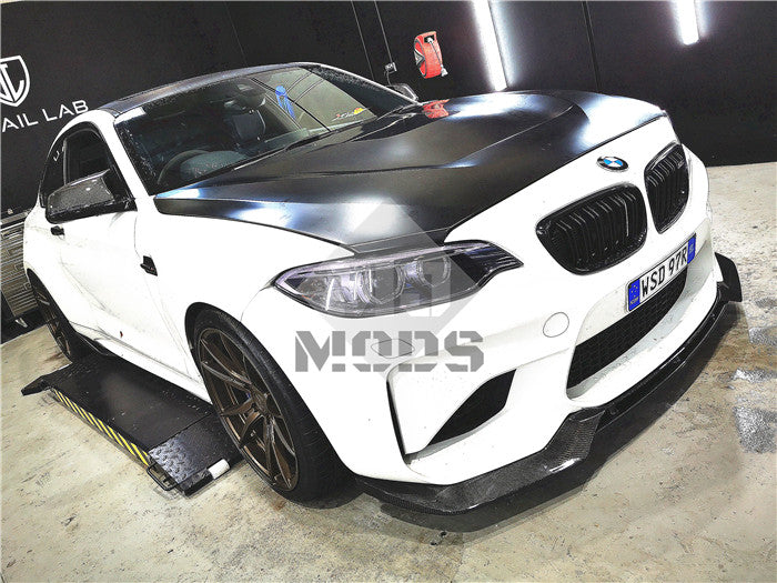 Carbon Fibre Front Bumper Lip for BMW F87 M2 【Standard Edition】【M2-V Style】 (4463171272778)