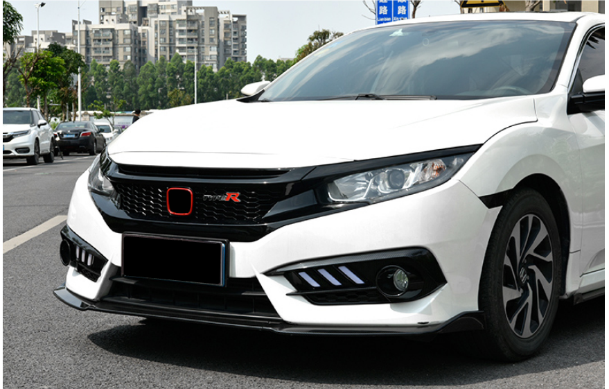ABS Glossy Black Front Grille for Honda Civic 10th Gen Sedan Hatch 2019+ -- Honeycomb Type (6548807974986)