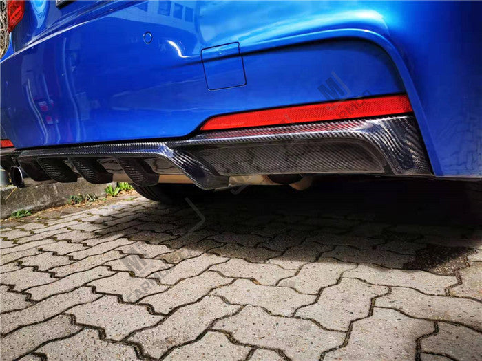 Carbon Fibre Rear Bumper Diffuser for BMW F30 M SPORT Kit - with Single Exhaust Outlet (4271862612042)