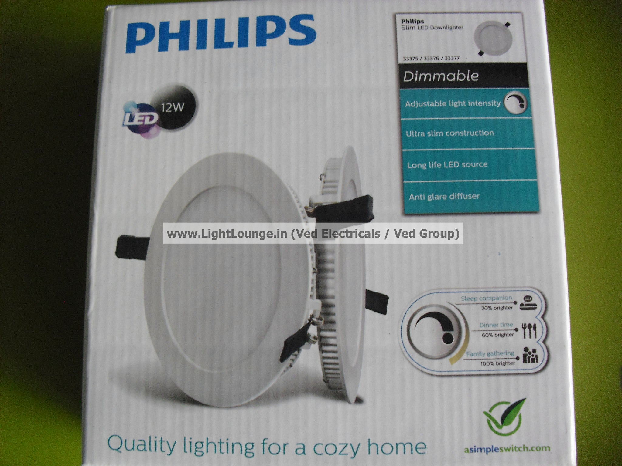 Philips UltraSlim Dimmable LED Downlighter+Dimmer Pack-12W/3000K/500lm