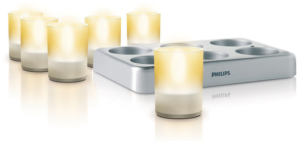 Philips Imageo LED CandleLights/TeaLights (Set of 6+Charging Station)