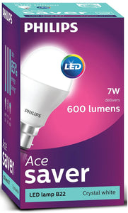 Philips LED Bulb 7W (60W) B22 6500K Crystal White 600 Lumen