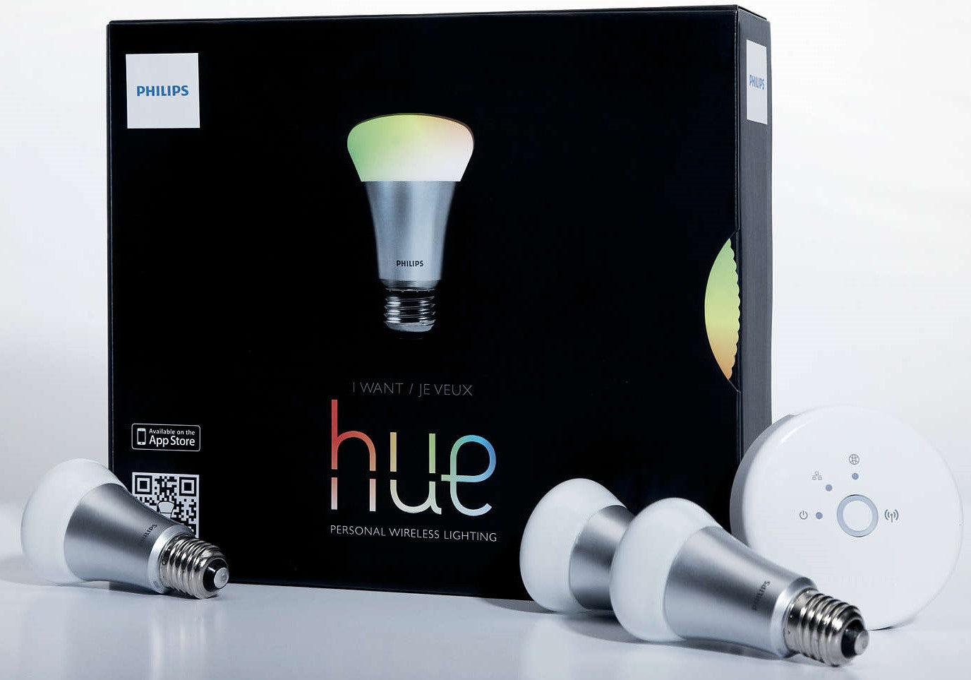 Philips Hue Starter Kit 3 9w E27 Led Bulbs Bridge Light Fluorescent Lamp Lights