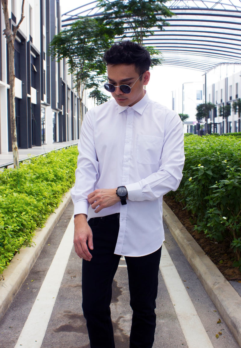 Formal White Shirt 701 with Stretchable Long Pants 774 - Exhaust Garment