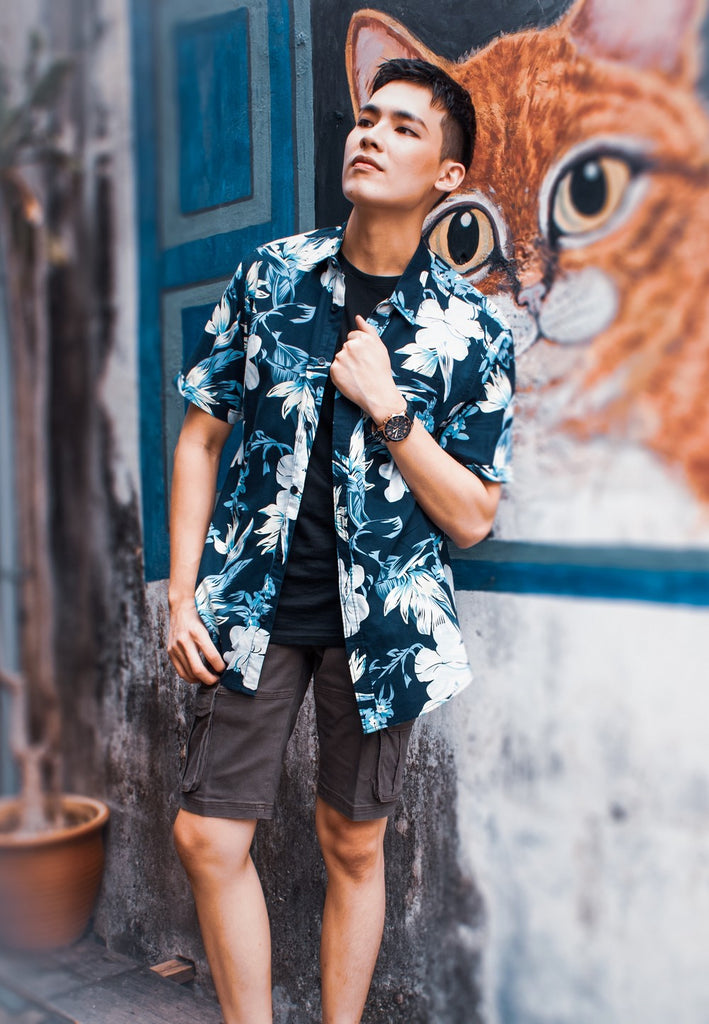 Floral printing shirt 809 with Cargo Pants 766 - Exhaust Garment