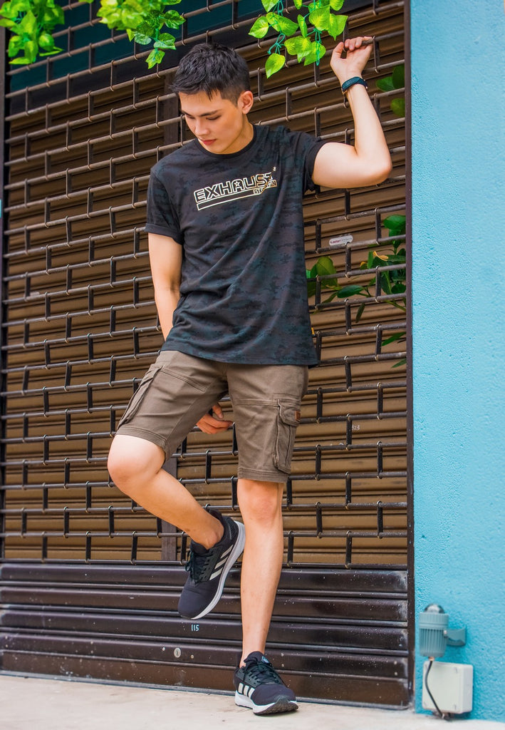 Round neck T-shirt 865 with Cargo Short Pants 797 - Exhaust Garment