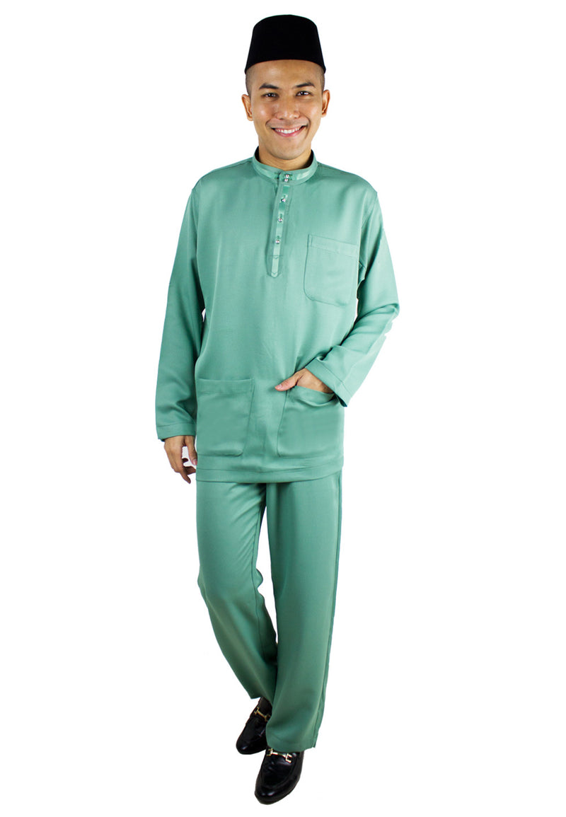 Baju Melayu Tradisional Set - Green / Light Green-80634NRG - Exhaust Garment