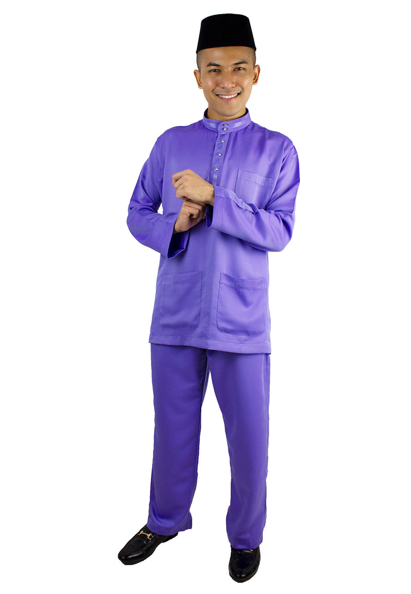 Baju Melayu Tradisional Set- Pink / Light Purple / Light Blue-80634NRG - Exhaust Garment