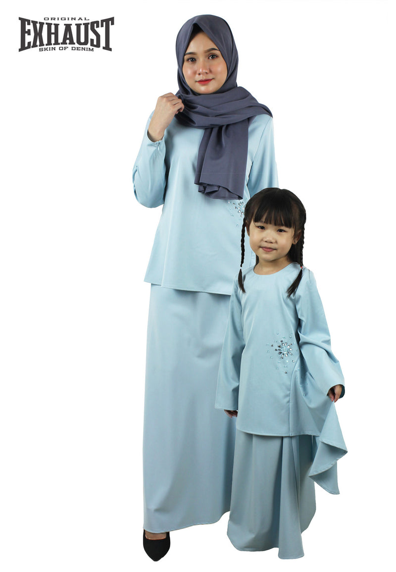 Exhaust Baju Kurung Fashion Adult & Kids -Light Blue-83924NSL - Exhaust Garment