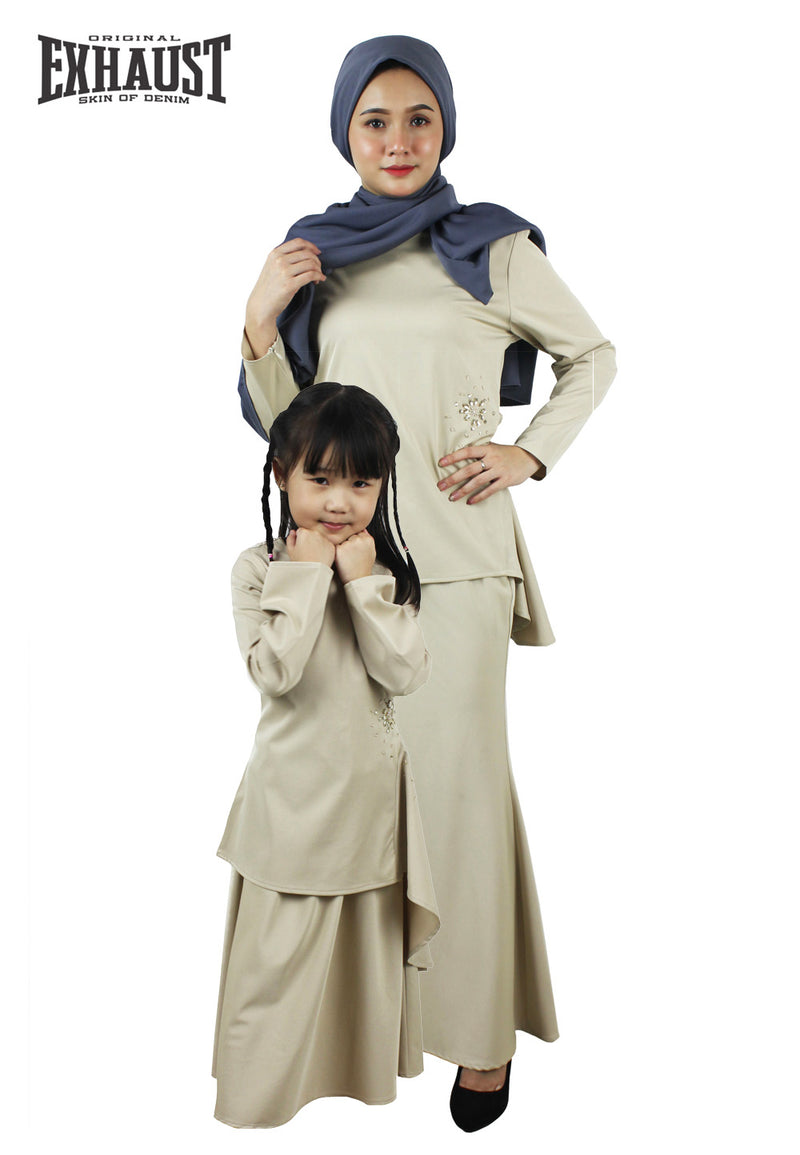 Exhaust Baju Kurung Fashion Adult & Kids -Light Khaki-83924NSL - Exhaust Garment