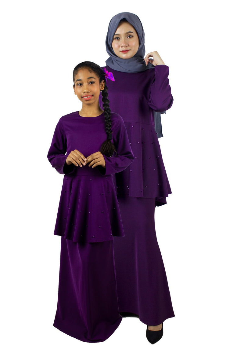 Exhaust Baju Kurung Fashion Adult & Kids -83925NL- Dark Purple - Exhaust Garment