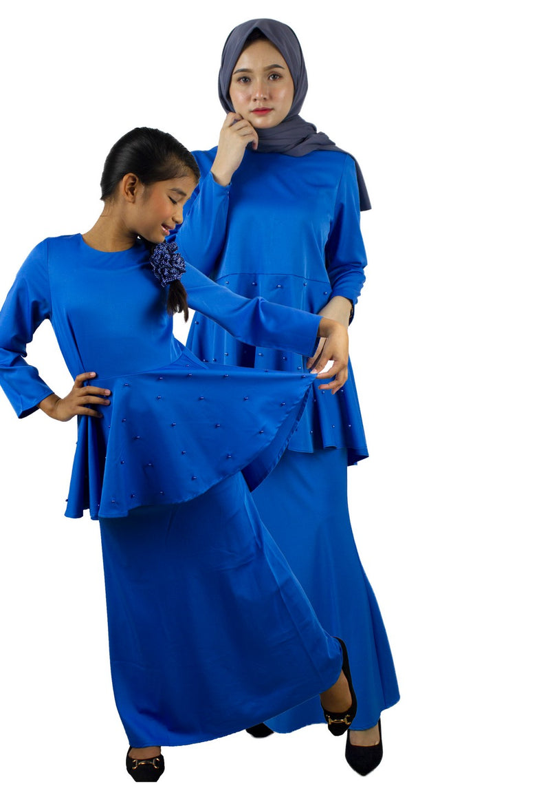 Exhaust Baju Kurung Fashion Adult & Kids -83925NL- Blue - Exhaust Garment