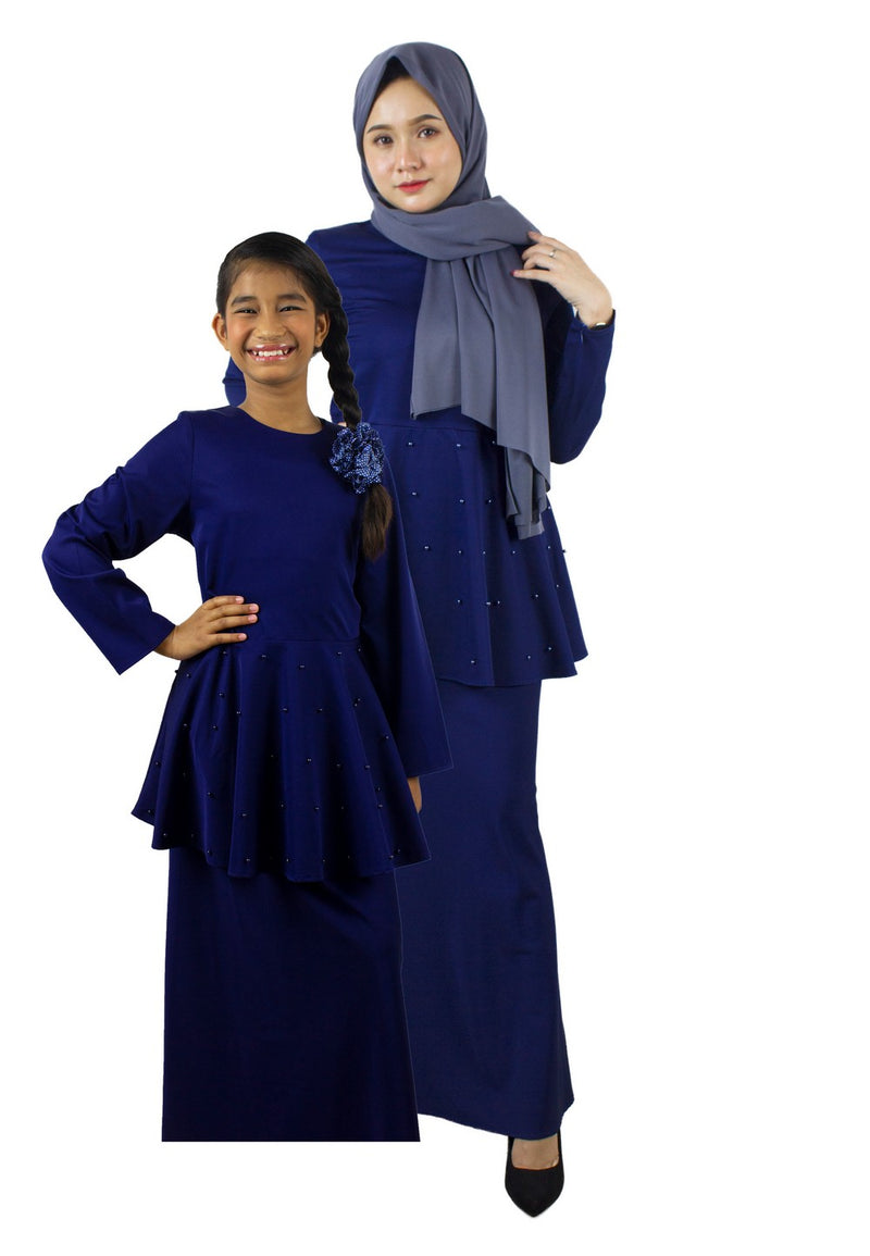Exhaust Baju Kurung Fashion Adult & Kids -83925NSL- Navy - Exhaust Garment
